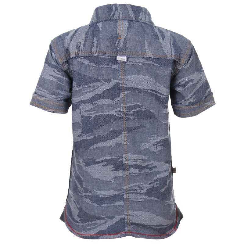 Ice Boys - Spread Blue Printed Denim Half Sleeve Shirts