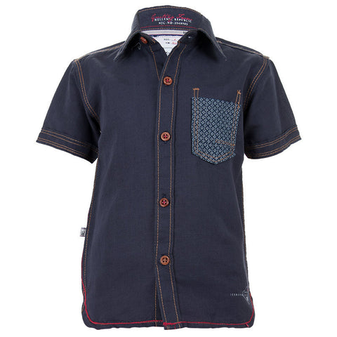 Ice Boys - Solid Dark Blue Denim Half Sleeve Shirts
