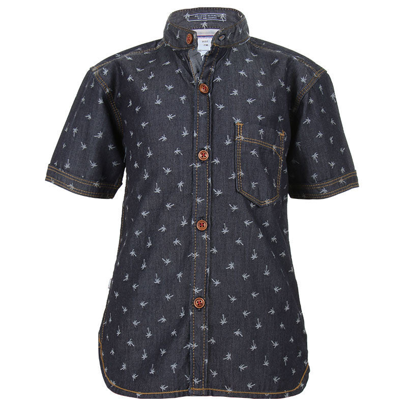 Ice Boys - Coconut Tree Printed Denim Half Sleeve Shirts With Chinese Collar