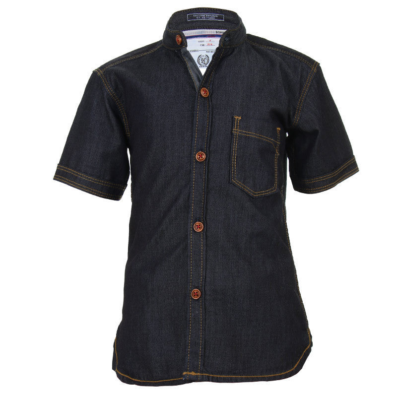 Ice Boys - Solid Black Denim Half Sleeve Shirts With Chinese Collar