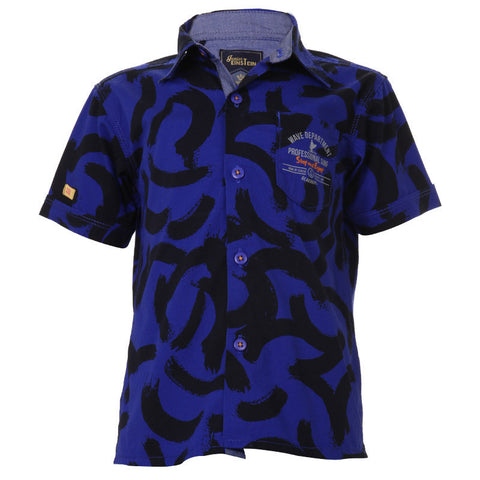 Einstein -Dazzling Blue Printed Cotton Half Sleeve Shirts