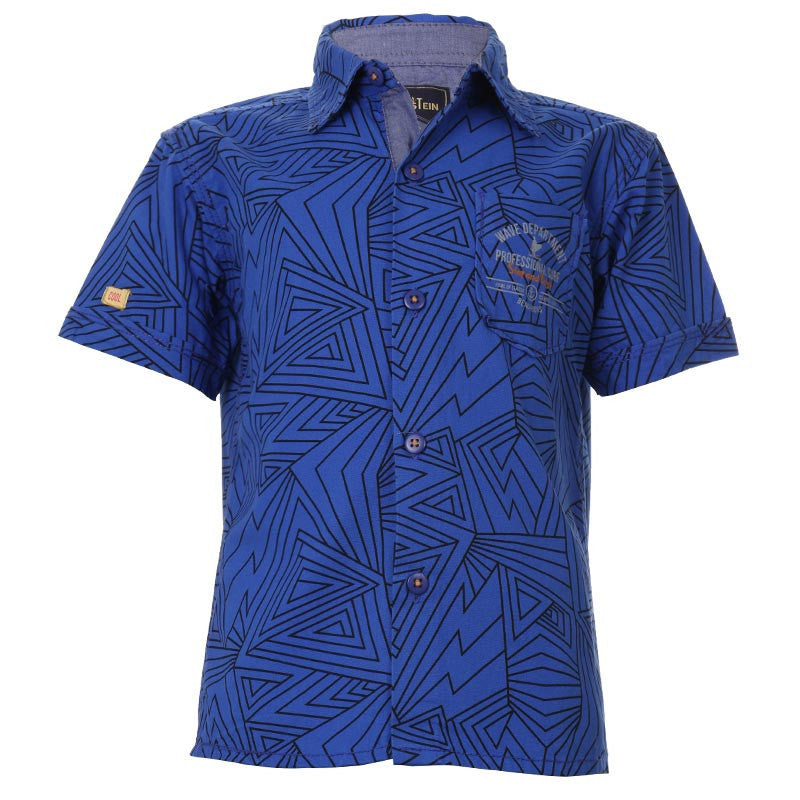 Einstein - Victoria Blue Printed Cotton Half Sleeve Shirts