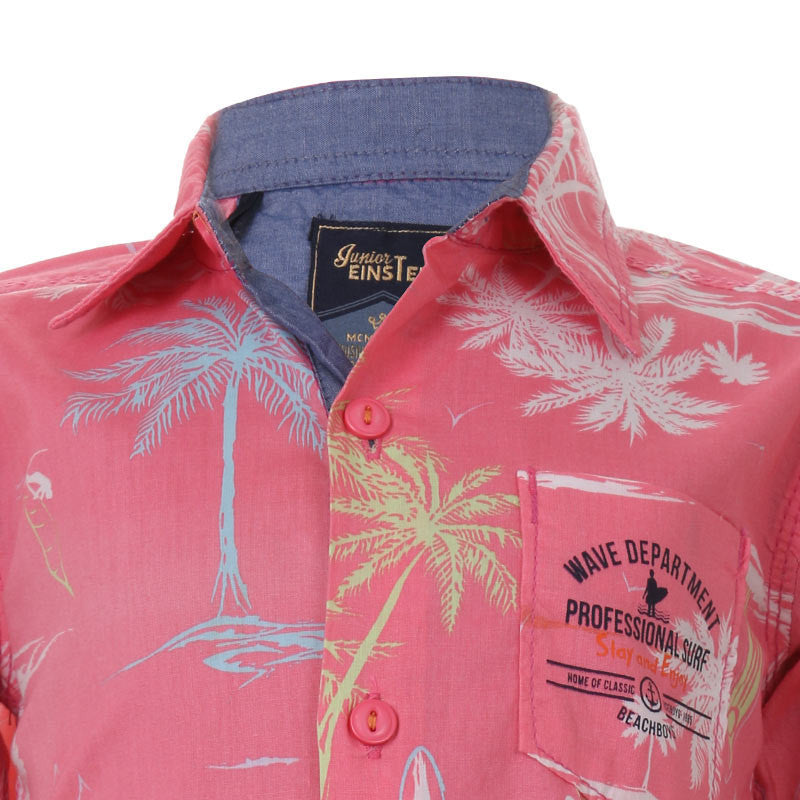 Einstein - Pink Lemonade Printed Collared Cotton Half Sleeve Shirts