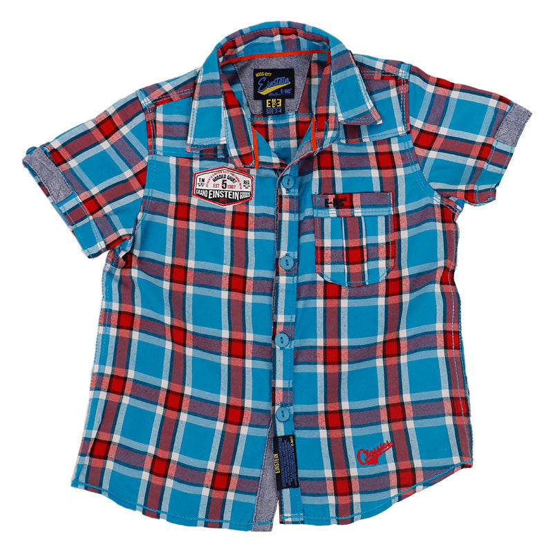 Einstein - Blue And Red Box Checked Cotton Half Sleeve Shirts