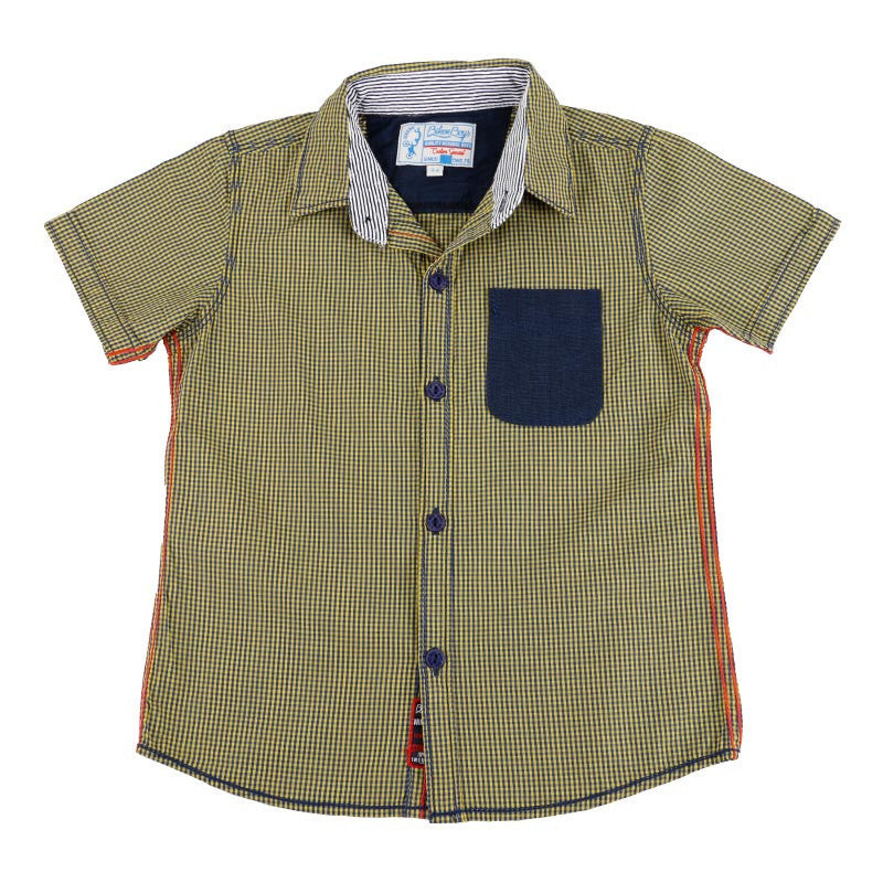 Biker Boys - Light Yellow And Blue Checked Half Sleeve Shirts