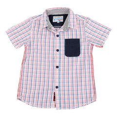Biker Boys - Pink And Blue Checked Half Sleeve Shirts