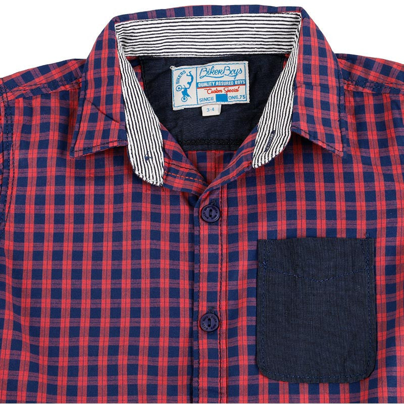 Biker Boys - Red And Blue Checked Half Sleeve Shirts