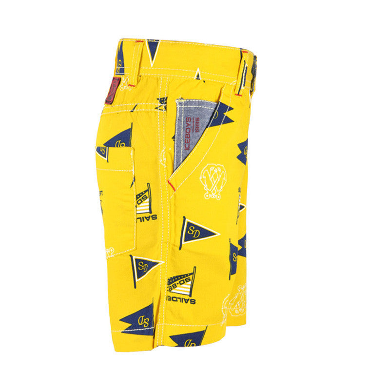 Ice Boys - The Happy Sailor Yellow Cotton Printed Shorts For Boys
