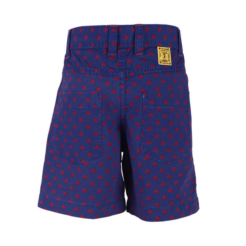 Ice Boys - Scissors All Around Blue With Red Cotton Printed Shorts For Boys