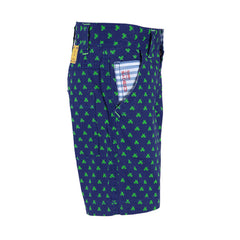 Ice Boys - Scissors All Around Blue With Green Cotton Printed Shorts For Boys