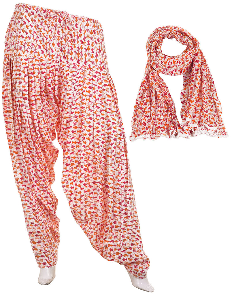 eSTYLe Orange 'N Pink Cotton Printed Semi Patiala & Dupatta set
