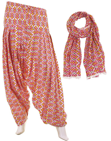 eSTYLe Red Anchor Prints Cotton Printed Semi Patiala & Dupatta set