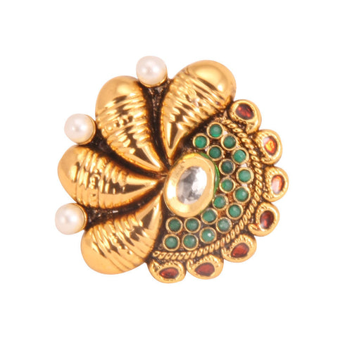 Adjustable Ethnic Finger Ring with Pearls & Kundan Stone, Green Beads and Red Enamel