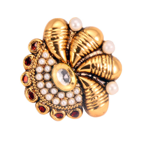 Adjustable Ethnic Finger Ring with Pearls & Kundan Stone, Red Beads and Red Enamel