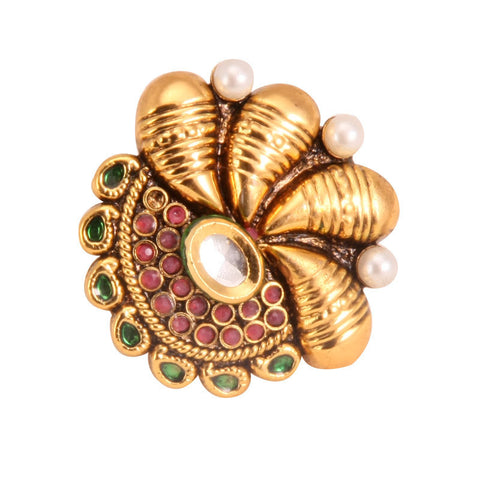 Adjustable Ethnic Finger Ring with Pearls & Kundan Stone, Red Beads and Green Enamel