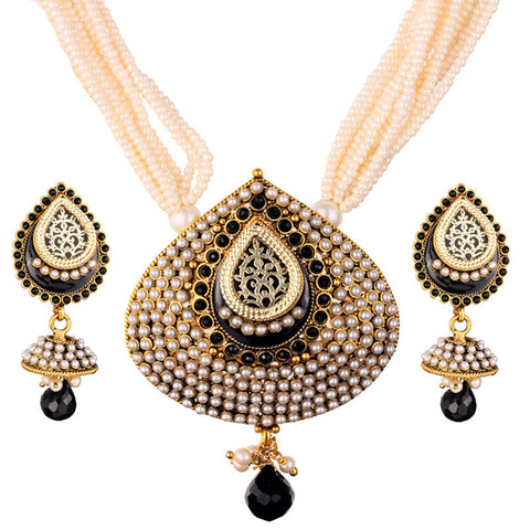 3Pcs - 12 Strand Pearl Neck Chain with Elegant Black Pendant & Matching Jhumka Ear Piece