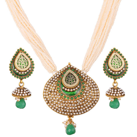 3Pcs - 12 Strand Pearl Neck Chain with Elegant Green Pendant & Matching Jhumka Ear Piece