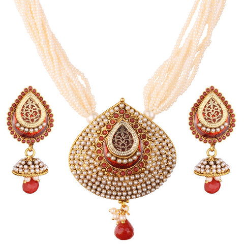 3Pcs - 12 Strand Pearl Neck Chain with Elegant Red Pendant & Matching Jhumka Ear Piece