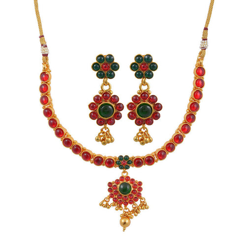 Varaagk Red and Green Kemp Studded Necklace Set