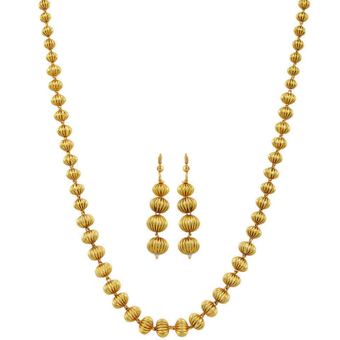 Varaagk Gold Finish Beaded Chain with Earrings