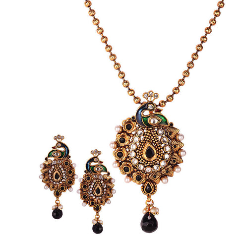 Antique 3Pc Set - Black Peacock Design Pendant with AD Stones & Matching earrings