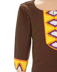 Choco Brown Casual Anarkali Kurta form eSTYLe For Kids