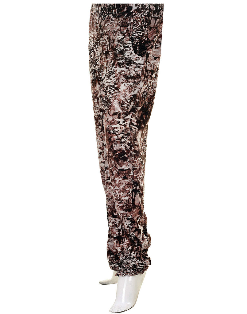 eSTYLe Mystic Brown Printed Georgette Elastic Cuffed Pants