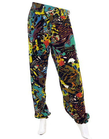 eSTYLe Colour Splash Printed Georgette Elastic Cuffed Pants