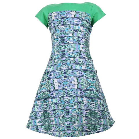 Maze Printed Kurta For Kids In Aqua Shade