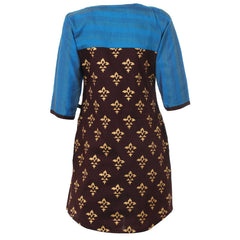 Printed Casual Kurta With Blue Brocade Yoke