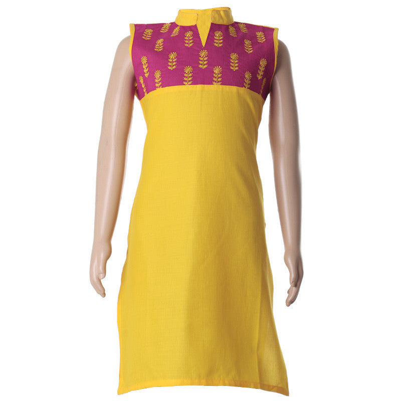 eSTYLe Lemon Chrome Embroidered With Chinese Collar Cotton Kurta