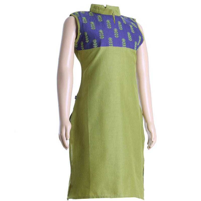 eSTYLe Moss Green Elegant Embroidered Cotton Kurta For Girls