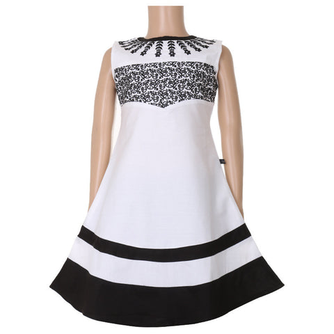 White And Black Anarkali For Kids With Embroidered Yoke