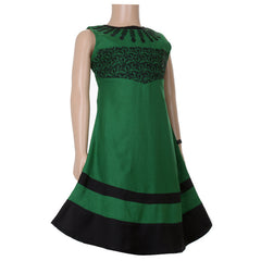 Green And Black Anarkali For Kids With Embroidered Yoke