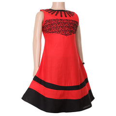 Red And Black Anarkali For Kids With Embroidered Yoke