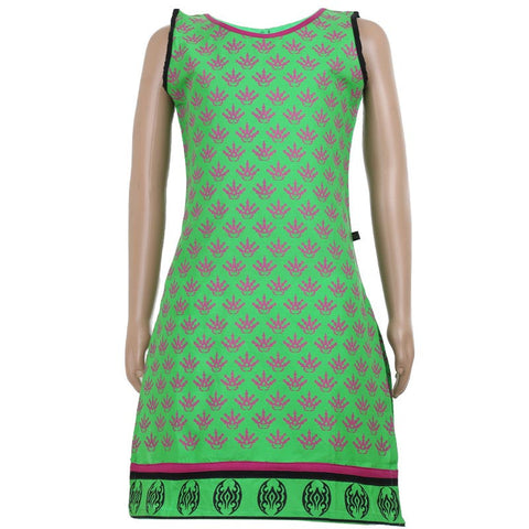 Kids Printed Sleeveless Cotton Kurta In Green Shade