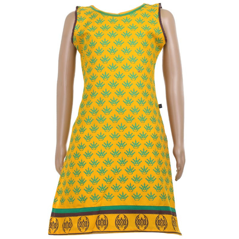 Kids Mango Yellow Printed Sleeveless Cotton Kurta
