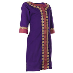 Purple Orchid Kurta With Lace Work For Girls
