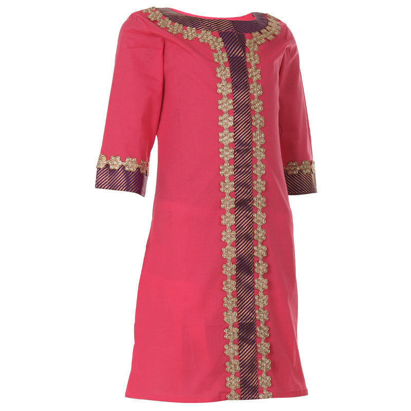 Mild Pink Kurta With Lace Work For Girls