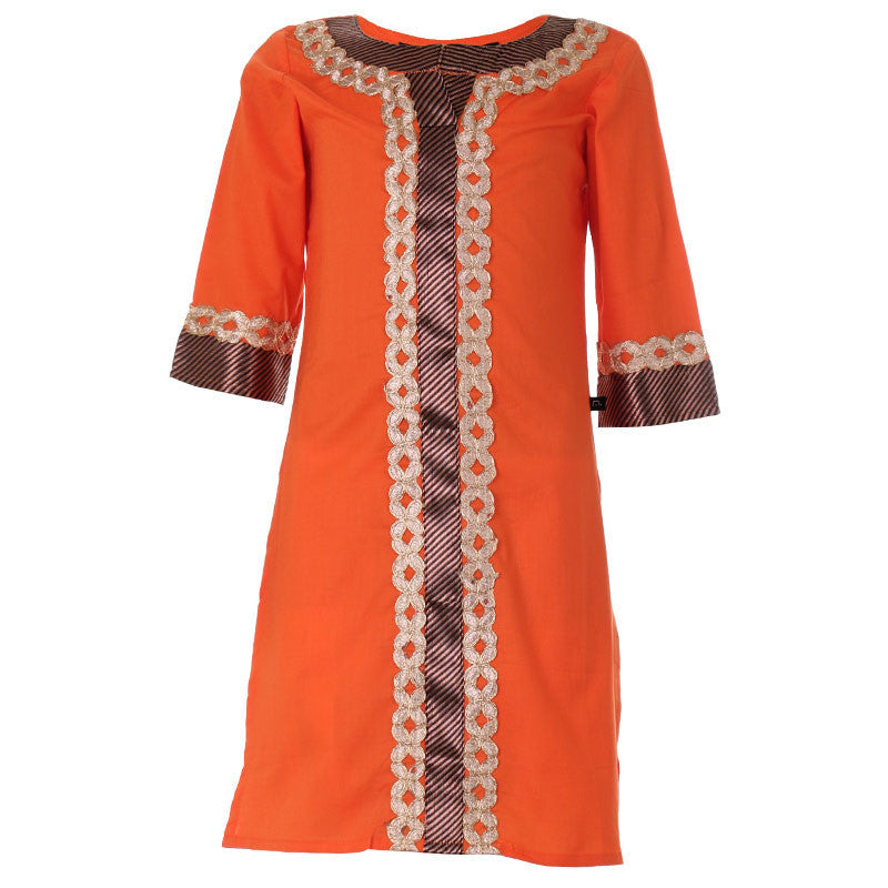 Brisk Orange Kurta With Lace Work For Girls