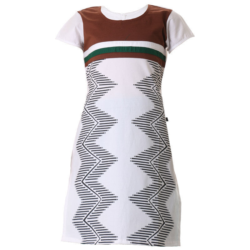 eSTYLe Girls Pristine White Cotton Kurta With Geometric Prints