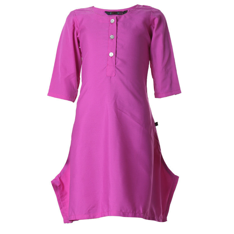 eSTYLe Rose Violet Boat Neck Polyster Western Kurta For Kids