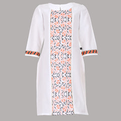 Snow White & Contrast Threaded Embroidery Design Pure Cotton Kids Kurta From eSTYLe Girls