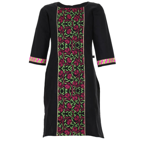 eSTYLe Pirate Black & Green With Pink Thread Embroidered Pattern Pure Cotton Kids Kurta