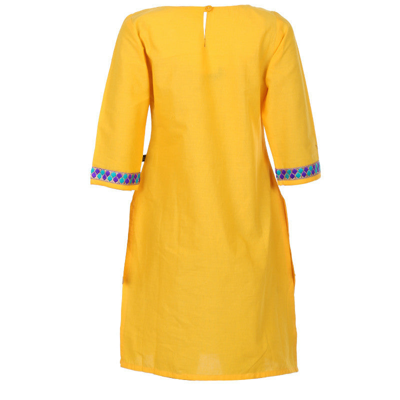 Gold Fusion Yellow Embroidered Cuff 3/4Th Sleeves Pure Cotton Kids Kurta From eSTYLe Girls