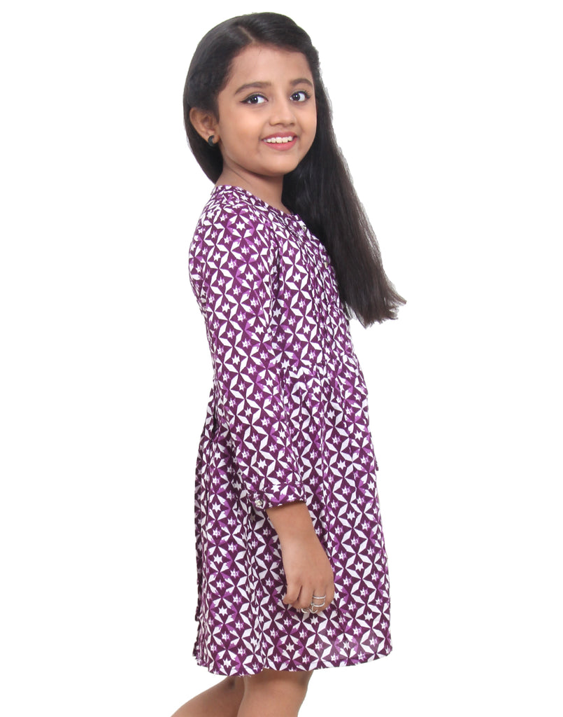 Dark Purple Rayon Frock for Girls