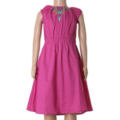 Carmine Rose Embroidered Stylish Frock From eSTYLe Girls