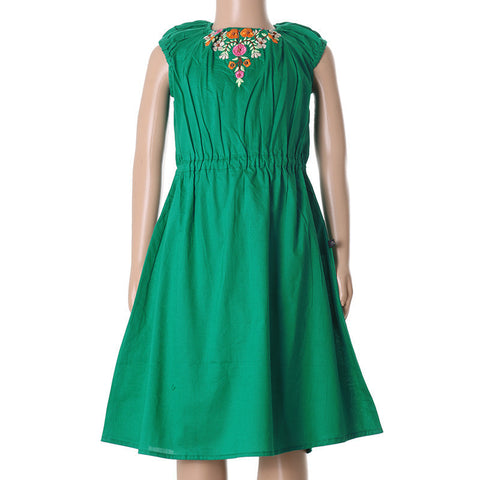 Dynasty Green Elegant Embroidered Frock From eSTYLe Girls