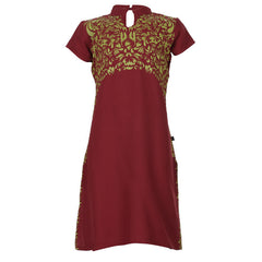 Chilli Pepper Red Floral Prints & Fancy Stand collar Neck Cotton Kids Kurta From eSTYLe Girls