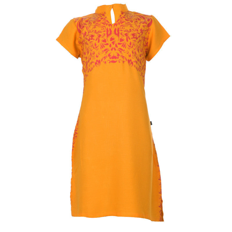 eSTYLe Girls Radiant Yellow Fashionable Floral Printed Design Pure Soft Cotton Kids Kurta